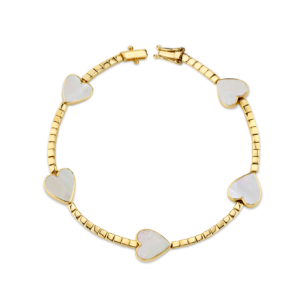 Regalos para San Valentín: Gold And Mother Of Pearl Heart Tennis Bracelet